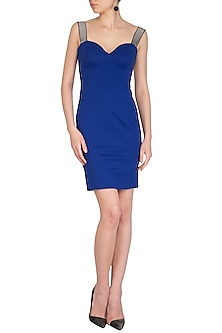 Blue Corset Fit Bodycon Dress by Sameer Madan