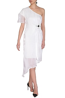White Shimmery Dress With Embroidered Belt by Sameer Madan