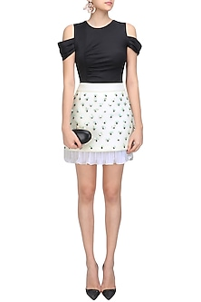 Ivory Drooping Floral Romance Mini Skirt by Sameer Madan