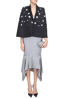 Black Flower Shower Embroidered Cape by Sameer Madan