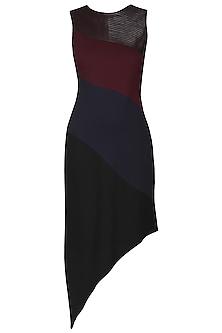 Maroon and Navy Blue Diagonal Dress
