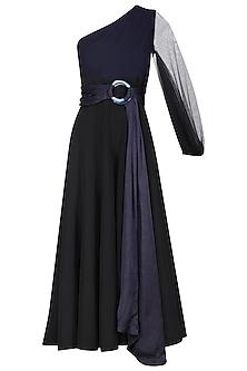 Black Pleated Jumpsuit by Sameer Madan