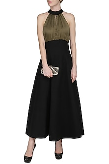 Black High Neck Buttoned Dress by Sameer Madan