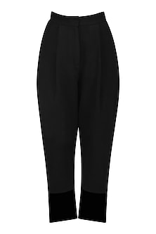 Black Net Hem Trousers by Sameer Madan