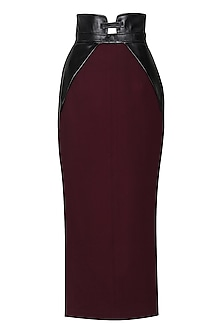 Maroon Pencil Skirt by Sameer Madan