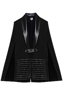 Black Leather Cape Jacket by Sameer Madan