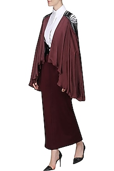 Maroon Asymmetrical Cape by Sameer Madan