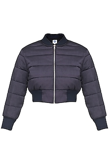 Navy Blue Quilted Crop Jacket by Sameer Madan