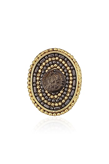 Gold Finish Multi Chain Midieval Fantasy Ring by Sameer Madan