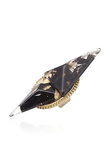 Two Sized Black Gawa Triangle Power Ring by Sameer Madan