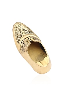 Gold Finish Embossed Brogue Brooch by Sameer Madan