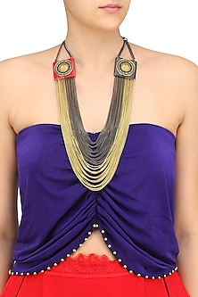 Gold Finish Black and Cherry Gawa Multiple Chain Necklace by Sameer Madan