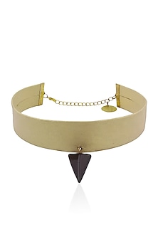 Gold and Black Triangle Pendant Choker Band by Sameer Madan