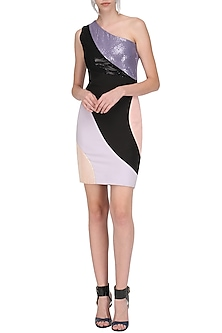 Multi-Colour One Shoulder Bodycon Dress by Sameer Madan