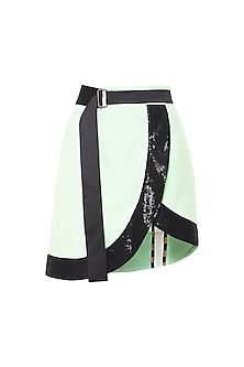 Black and Mint Green Leaf Shaped Sequins Skirt with Belt