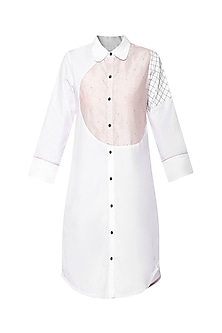 White Geometric Shirt Dress by Sameer Madan