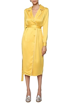 Yellow Trench Dress with A Belt by Sameer Madan