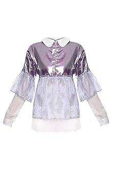 Purple and White Oversized Layered Shirt