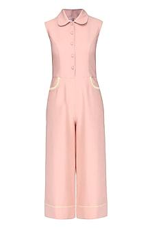 Pink Sleeveless Race Track Style Jumpsuit