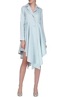 Blue Asymmetrical Trench Dress by Sameer Madan