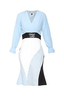 Ice Blue Seamwork Bodycon Dress