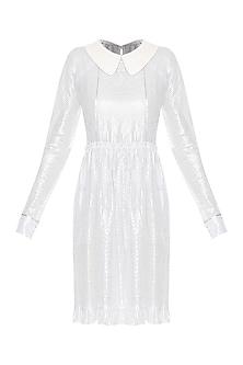 Silver Dust Knee Length Seamwork Shift Dress by Sameer Madan