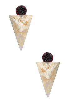 Blackberry and Pearl Gawa Earrings by Sameer Madan