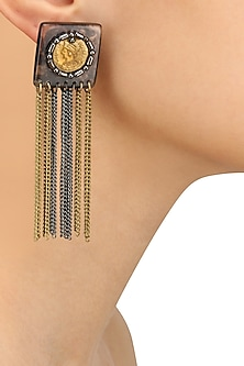 Black Gawa Coin Embellished Small Square Earrings