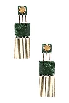 Avocado Gawa Embellished Velvetine Earrings by Sameer Madan