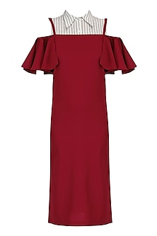 Burgundy and Monochrome Pinafore Shirt Dress by Sameer Madan