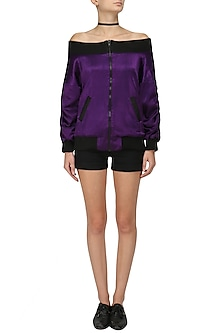 Purple Off Shoulder Bomber Jacket by Sameer Madan