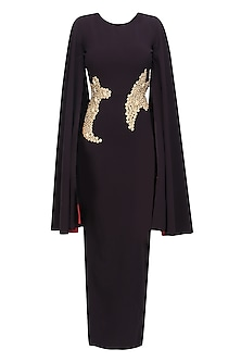 Oxblood Metallic Flowers Embroidered Cleopatra Cape Gown by Sameer Madan
