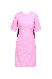 Cameo Pink and Royal Purple Sequins and Glass Beads Shift Tunic Dress by Sameer Madan