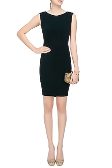 Dartmouth Green Oversized Frill Detailing Raven Bodycon Dress by Sameer Madan