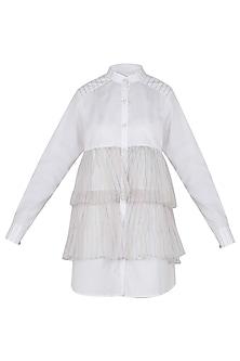 Vanilla Front Open Ruffle Shirt Dress
