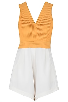 White and Orange Colour Block Pleated Playsuit