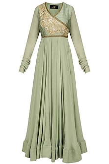 Mint Green Sequins Embroidered Kalidaar Anarkali Set