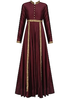 Maroon Sequins Embroidered Kalidaar Kurta Set