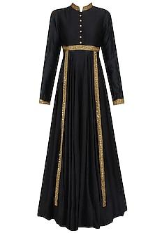 Black Sequins Embroidered Kalidaar Kurta Set by Debyani
