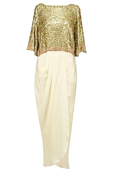 Golden Sequins Embroidered Kaftan Top and Ivory Dhoti Skirt Set by Debyani