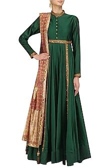 Forest Green Sequins Embroidered Kalidaar Kurta Set by Debyani