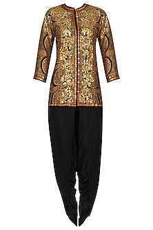 Black Chakri Printed Trail Jacket and Dhoti Pants Set