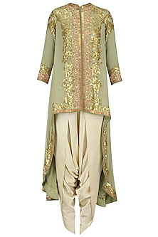 Sea Green Sequins Embroidered Trail Jacket and Ivory Dhoti Pants Set