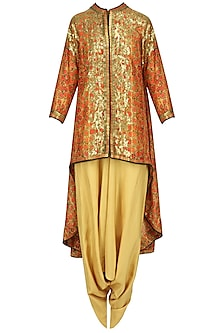 Orange Sequins Embroidered Trail Jacket and Beige Dhoti Pants Set