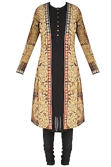Red and beige scottish embroidered jacket with slip and gathered pants