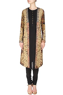 Red and beige scottish embroidered jacket with slip and gathered pants by Debyani