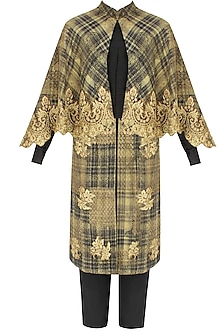 Black and beige textured embroidered jacket with cape and black pants by Debyani