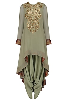 Pale Blue Sequins Embroidered Tunic and Dhoti Pants Set