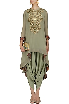 Pale Blue Sequins Embroidered Tunic and Dhoti Pants Set by Debyani