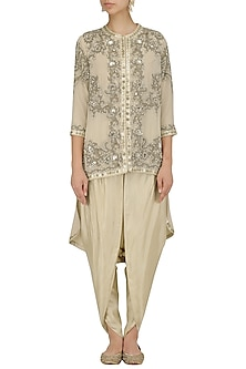 Ivory Embroidered Trail Jacket and Dhoti Pants Set by Debyani
